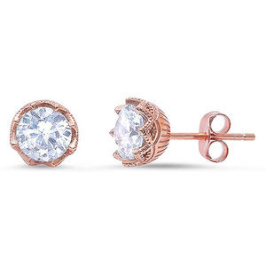 Solitaire Stud Earrings Round CZ Rose Tone